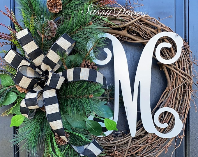 Woodland Wreath, Pines Grapevine Wreath,  Woodland  Front Door Wreath, Sassy Doors Wreath, Monogram Wreath