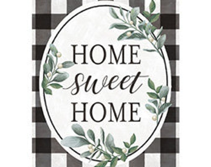 Home Sweet Home,  House Flag , Welcome Flag, Buffalo Plaid Flag