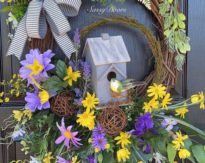 Natures Beauty Birdhouse Wreath, Spring Wreath, Wreath For Front Door, Wreath With Bird, Sassy Doors Wreath,