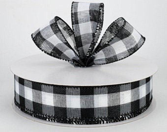 Black  and White Buffalo Plaid 1 1/2  Wired Ribbon