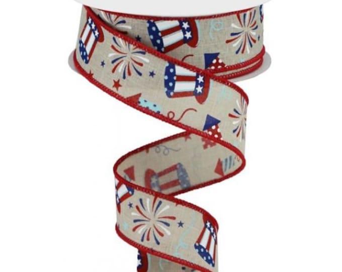 "Uncle Sam Fireworks Ribbon, Patriotic Ribbon, 1 1/2""  Wired Fireworks  Ribbon, Red White and Blue Ribbon,"