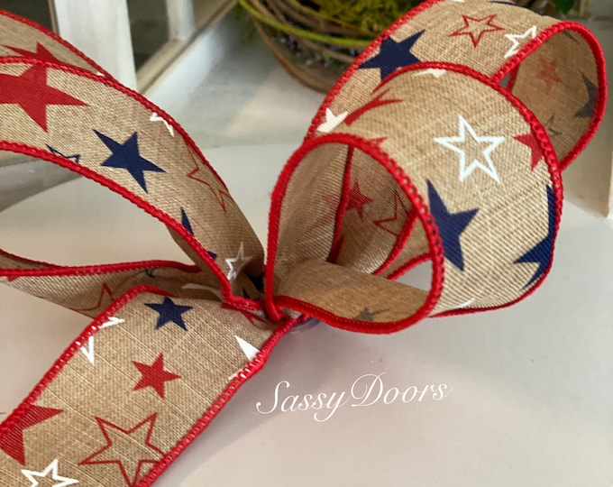 """Patriotic Ribbon, 1 1/2""""  Wired,  Linen Ribbon With Starts, Red White and Blue Ribbon,"""