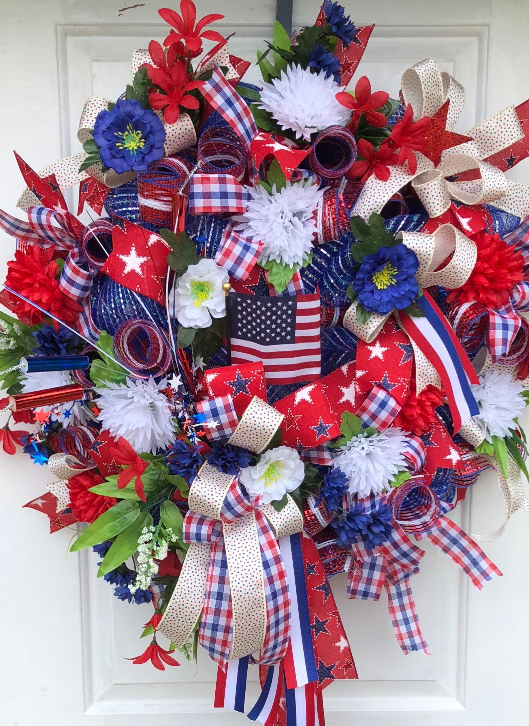 Patriotic Wreath Memorial Day Wreath July 4th Wreath Deco Mesh Wreath American Pride Wreath