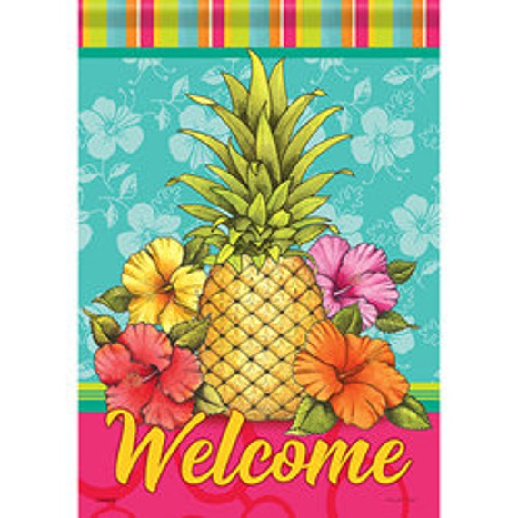 Pineapple Summer Flag, Flag, Garden Flag, Tropical  Flag  Carson Flag, Welcome Flag, Garden Flag-