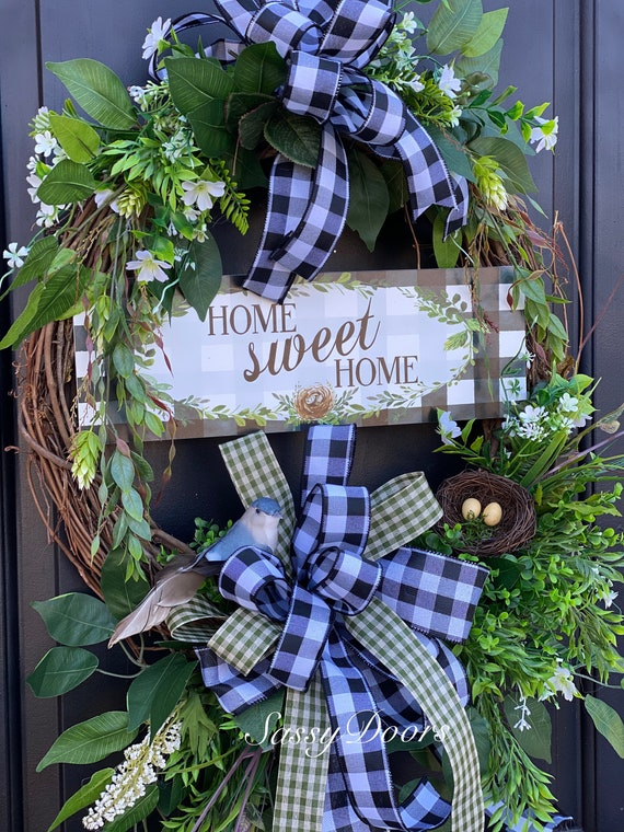 Everyday Wreath, Home Sweet Home Wreath, Gingham Plaid Wreath, Nature Wreath,