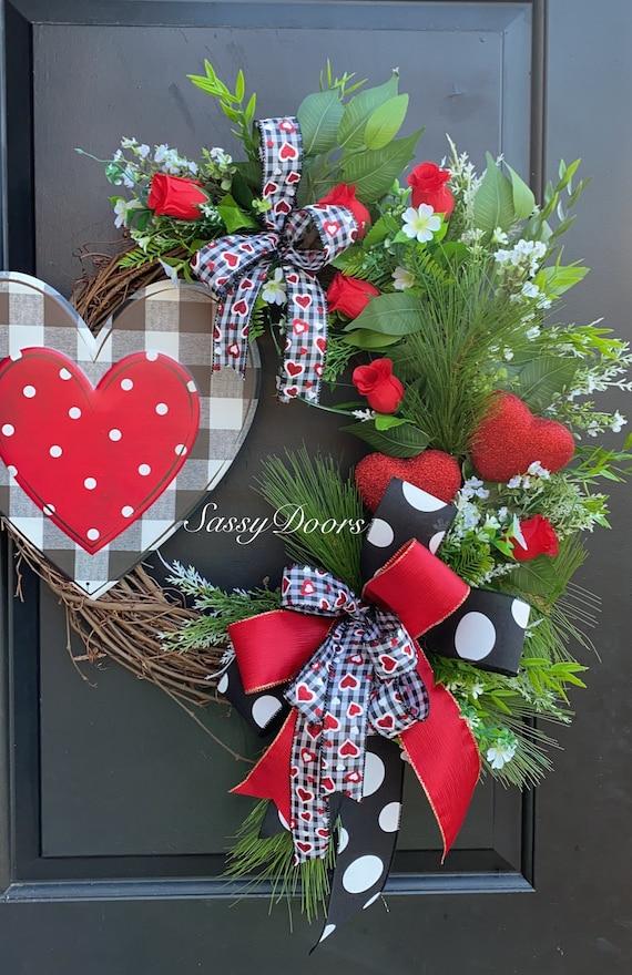 Valentine Wreath, Valentine's Wreath,Red Heart Valentine Wreath,  Heart Wreath, Front Door Wreath, Sassy Door Wreath,