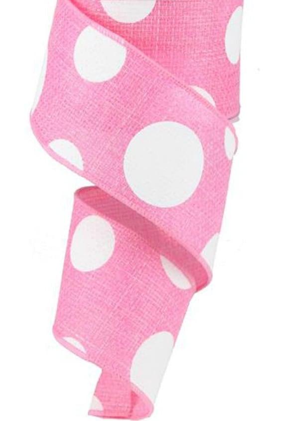 Pink Polka Dot Ribbon, 2 1/2 Wide Pink Ribbon, Craft Ribbon,