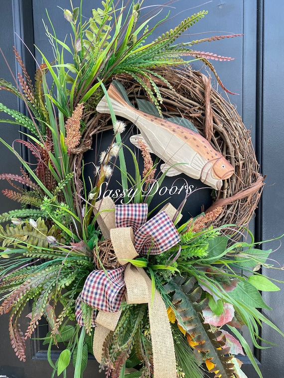Fishing Wreath, Lake House Door Wreath, Lake House Wreath, Grapevine Wreath,Lake Wreath, SassyDoors ,
