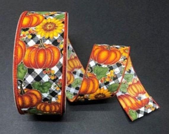 Sunflower ribbon, Pumpkin Ribbon, Fall Print Wired Ribbon, 2 1/2 Inch Ribbon, Cut Ribbon