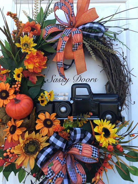 Fall Truck Wreath- Truck Wreath - Fall Truck Wreath - Farmhouse Truck Wreath- Wreath With Truck, Wreath With Truck SassyDoors Wreath