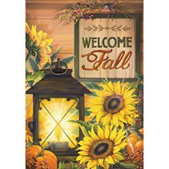 Sunflower Garden Flag,  Welcome Fall Flag, Fall Garden Flag, Sunflower And Lantern Flag, Sassy Doors