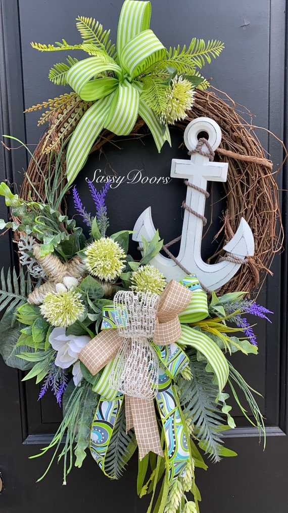 Beach Wreath, Nautical Wreath, Summer  Wreath, Coastal Wreath, Front Door Wreath, Sassy Doors Wreath,