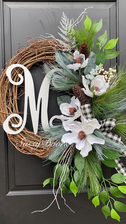 Winter Wreath Winter Monogram Wreath Magnolia Wreath Wreath For Front Door Sassy Doors Wreath Monogram Wreath