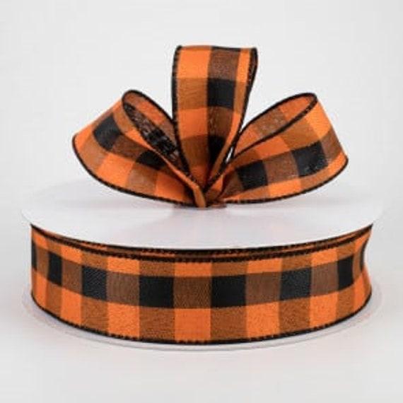 Black and Orange Buffalo Plaid 1 1/2  Wired Ribbon, Halloween Ribbon,