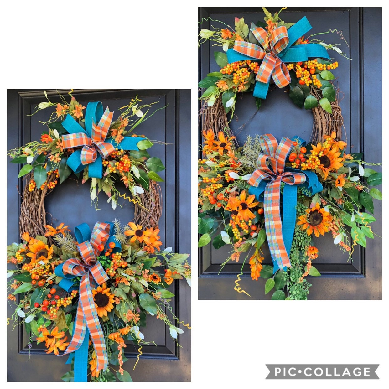 Fall Wreath Double Door Fall Wreath Hydrangea Wreath Front Door Wreath Thanksgiving Wreath Fall Grapevine Wreath