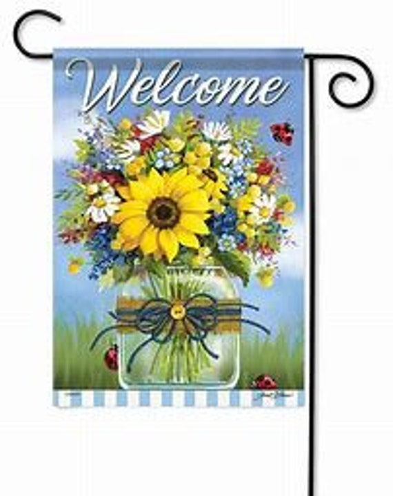 Farmhouse  Flag, Welcome Flag, Garden Flag, Mason Jar Flag , Carson Flag, Garden Flag