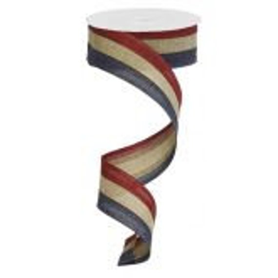 """Tea Stained Patriotic Ribbon, 1 1/2""""  Wired,  Tea Stained Stripes Ribbon, Red White and Blue Ribbon,"""