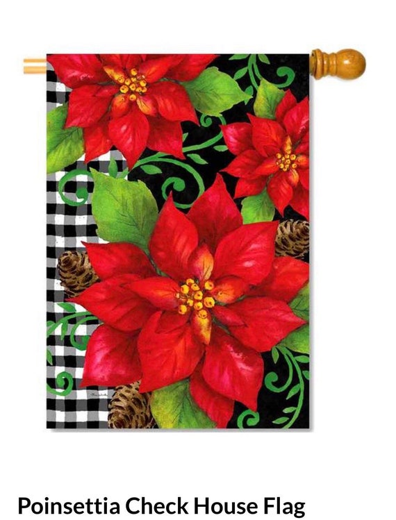 Buffalo Plaid Christmas Flag, House Flag, Poinsettia Christmas Flag, Buffalo Plaid Flag,  Custom Decor Flag