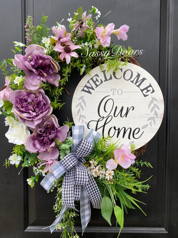 Spring and Summer Wreaths, Mother's Day Gift, Wreath, Peonies Wreath, Wreath For Front Door, Welcome Wreath, Front Door Wreath,