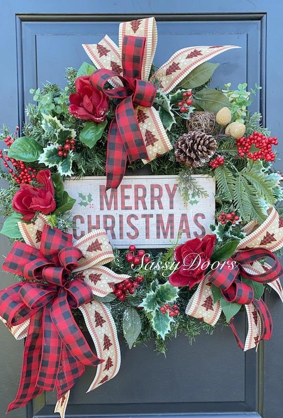 Christmas Wreath, Farmhouse Plaid Christmas Wreath, Traditional Christmas Wreath, Rustic Christmas Wreath, Sassydoors Wreath