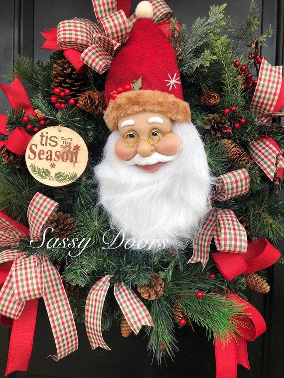 Traditional Christmas Wreath, Santa Wreath, Christmas Wreath, Christmas Front Door Wreath, Country Christmas Wreath, Sassy Doors Wreath,