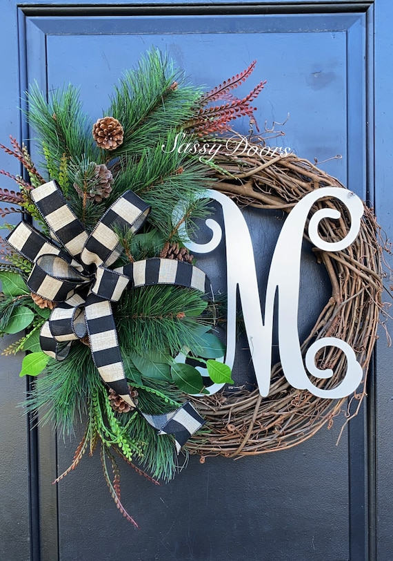 Winter Wreath, Winter Grapevine Wreath,  Winter Front Door Wreath, Winter Wreaths, Grapevine Wreath, Sassy Doors Wreath, Monogram Wreath
