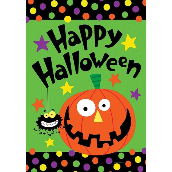 Halloween Garden Flag- Happy Halloween  Flag- Garden Accent-Free Shipping