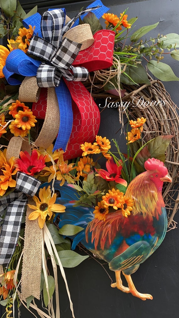 Rooster Wreath- Farmhouse Wreath-Rooster Front Door Wreath- Farmhouse Cotton Wreath- Farmhouse Decor, Sunflower Wreath- Sassy Doors Wreath