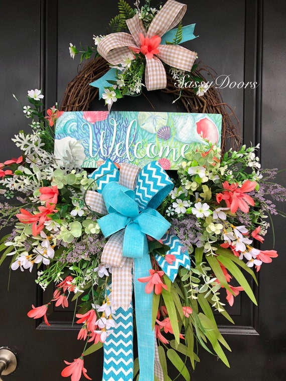 Summer Wreath, Beach Wreath, Nautical Wreath, Summer Welcome Wreath, Coastal Wreath, Front Door Wreath, Sassy Doors Wreath,