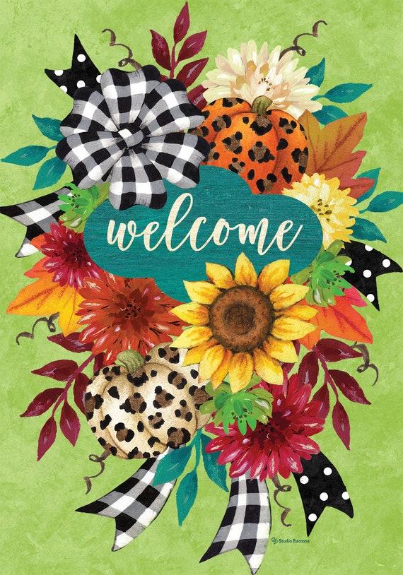 Sunflower Flag,  Cheetah Pumpkins Flag,  Flag With Sunflowers, Custom Decor Flag, Sassy Doors