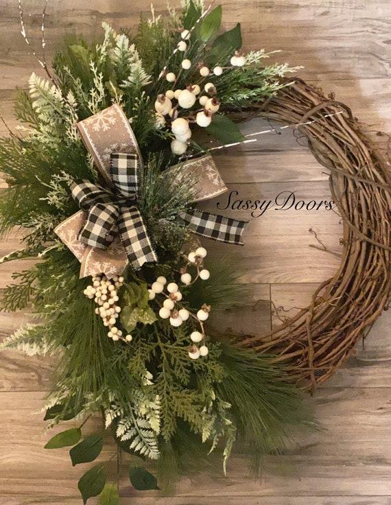 Woodland Winter Wreath, Front Door Winter Wreath, Winter Wreath