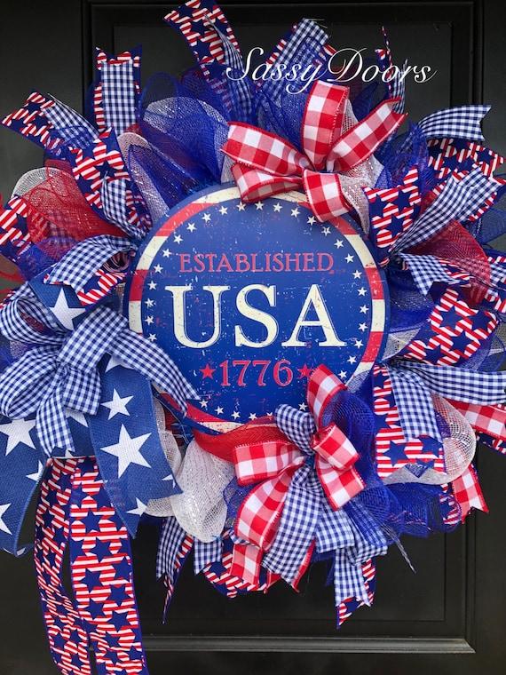 Patriotic Wreath, USA Wreath, July 4th Summer Wreath, Deco Mesh Wreath, Sassy Doors Wreath, Memorial Day Wreaths