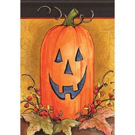 Pumpkin Face Fall Garden Flag, Pumpkin  Flag, Primitive  Garden Flag, Flag With Pumpkins, Double Sided