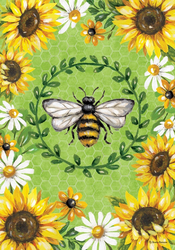 Bumble Bee  Garden Flag- Sunflower Flag- Sunflowers And Bumble Bee  Flag- Whimsical Garden Flag-