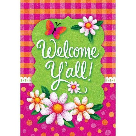 Summer Welcome Y'all Flag, Garden Flag, Flag With Daisies , Spring Welcome  Flag, Welcome Flag With Daisies, Garden Flag.