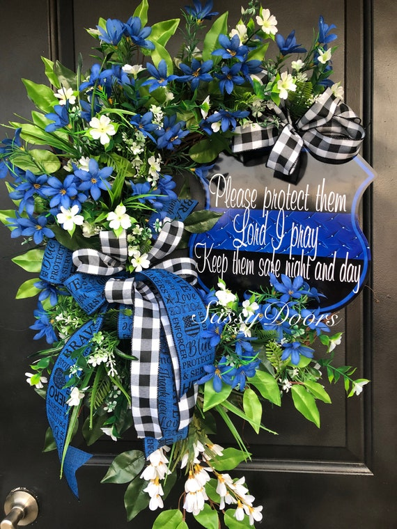 Police Officers Wreath, Support The Blue, Public Servant Wreath, Thin Blue Line,  Law Enforcement Wreath , Sassy Doors Wreath