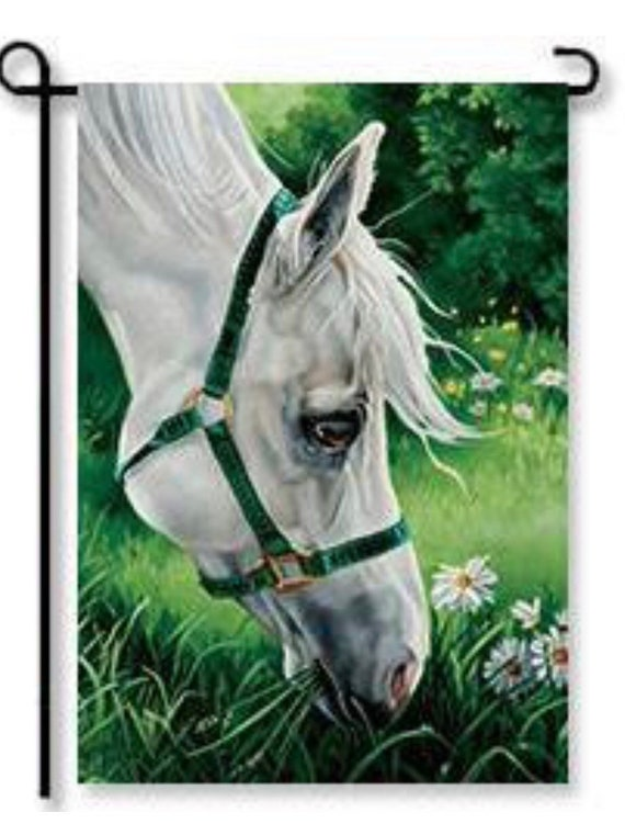 Horse Garden Flag- Farm Flag, Free Shipping, Farmhouse Flag, Sassy Doors, Garden Flag With Horse, Accent Garden Decor