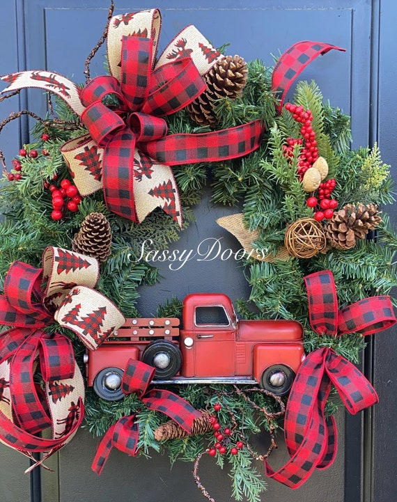 Red Truck Wreath- Truck Wreath - Farmhouse Truck Wreath- Wreath With Truck, Vintage Truck Decor,  SassyDoors Wreath,
