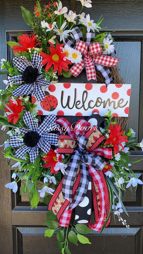 Ladybug Door Wreath, Summer wreath, Wreath With Ladybugs, Sassy Doors Wreath