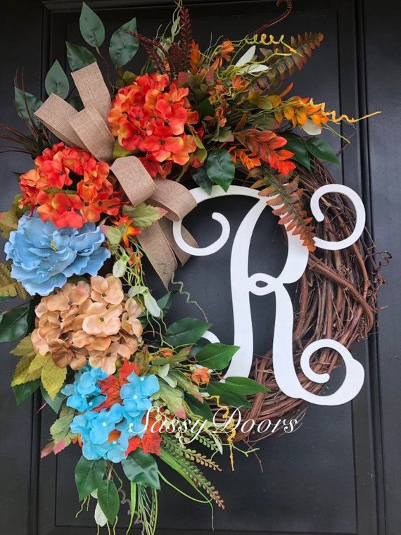 Fall Wreath, Fall Monogram Wreath, Grapevine Wreath, Hydrangea Wreath, Wreath for front door, Sassy Doors Wreath, Monogram Wreath