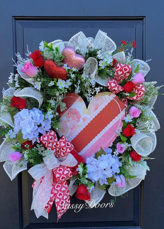 Valentines Wreath, Valentine Door Wreath, Red Heart Wreath, Wreath With Hearts, Sassy Doors Wreath