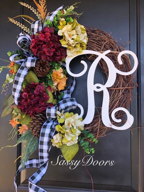 Fall Hydrangea Wreath-Grapevine Wreaths- Sassy Doors Wreaths-Wreath For Front Door- Monogram Wreath