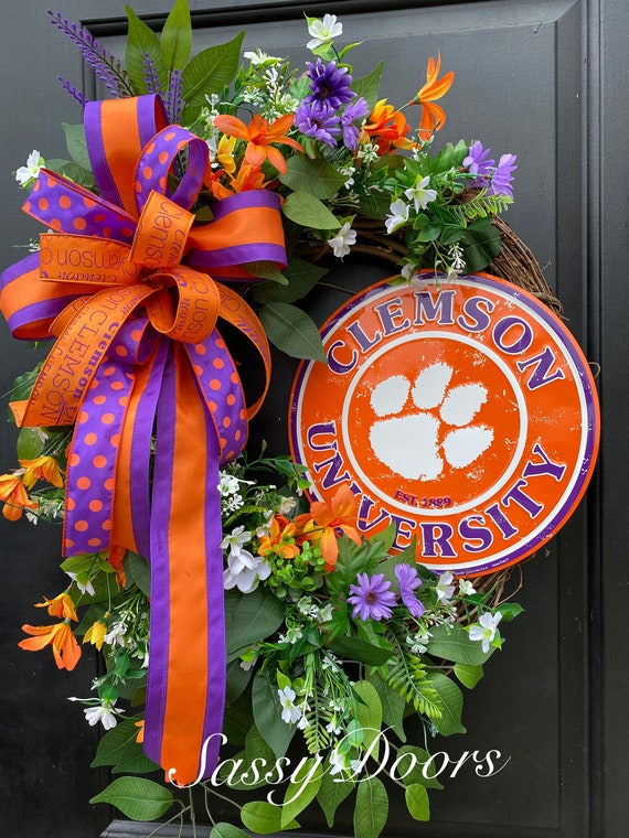 Clemson Wreath, Clemson University, Clemson Football,  Clemson College Wreath, Clemson Tigers, Sports Wreath