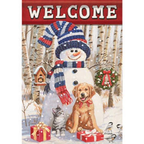 Snowman Flag, Winter Flag, Garden Flag, Whimsical Flag, Winter Garden Flag, Dog Christmas Flag