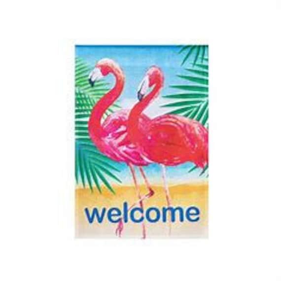 Flamingo  Garden Flag- Summer Flag- Flaming Garden Flag- Whimsical Garden Flag- Free Shipping