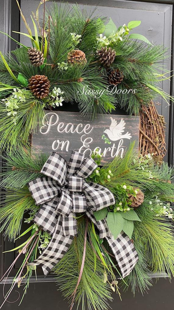 Winter Wreath, Winter Grapevine Wreath, Pine Wreath, Wreath for front door, Sassy Doors Wreath, Peace On Earth Wreath,