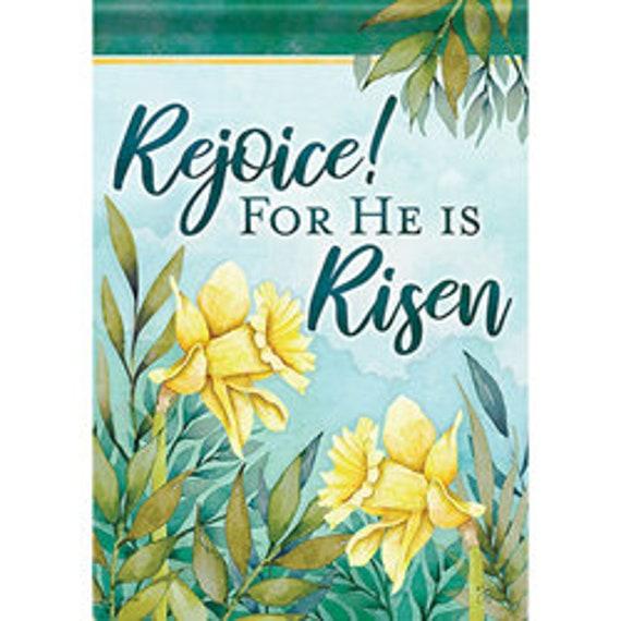 He Is Risen Flag, Religious Easter Garden Flag, Easter Flag, Easter Daffodil  Flag, He Is Risen Flags