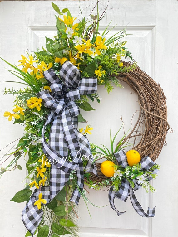 Spring Wreath, Summer Wreaths, Lemon Wreath, Grapevine Wreath, SassyDoors Wreath, Mother's Day Gift