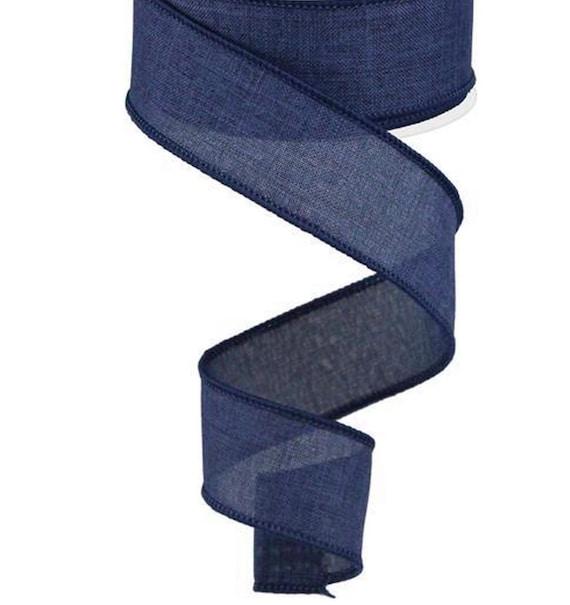 Navy Blue Wired Ribbon, Faux Burlap 1 1/2 Inch Ribbon, 1.5 inch Ribbon