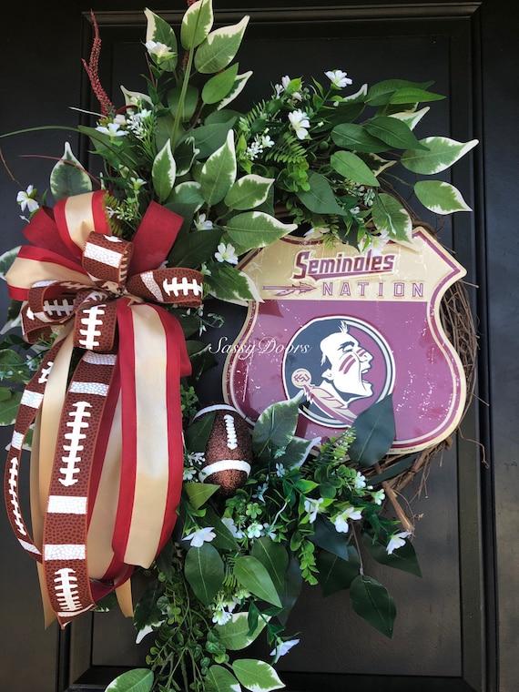 Florida State Door Wreath, Florida State University, Seminoles Wreath, Florida State Decor, FSU Gift, FSU Alumni Wreath Gift